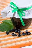 Jam-jar of black currant Royalty Free Stock Photography