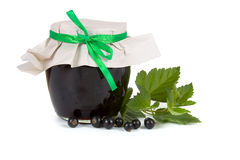 Jam-jar of black currant Stock Photo