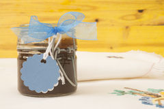 Jam jar with blank label for text Royalty Free Stock Photos
