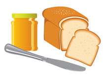 Jam jar, bread & knife Stock Images