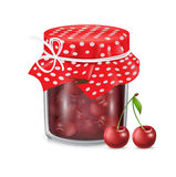 Jam jar and cherry fruit  Stock Photos