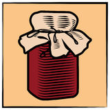 Jam-jar-engraving-color Stock Image