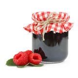 Jam in a jar with raspberries Stock Image