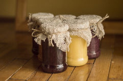 Jam jar whit jams. Jam jars whit jams on rustic background Stock Photography