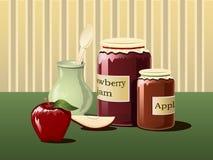 Jam in jars. Illustration. Jam in jars, apple and spoon Stock Photo