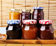 Jam in the jars. Assortment of jam in the glass jars Stock Image