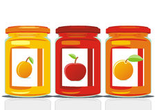 Jam jars. Vector illustration of three jam jars Royalty Free Stock Images
