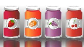 Jam Jars. Vector illustration of jars containing jam Royalty Free Stock Photos