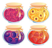 Jam jars collection Royalty Free Stock Photos