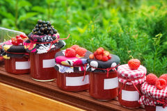 Jam jars with label. Many Jam jars with label Royalty Free Stock Photo