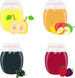 Jam jars, pear, apple, currants, raspberries, blackberries.  Royalty Free Stock Photo