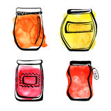 Jam jars with watercolor stains. Stock Images