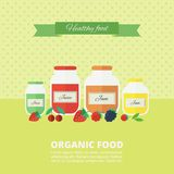 Jam and juice card in flat style. Jars of jam and juice card. Flat vector illustration. Concept organic food royalty free illustration