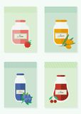 Jam and juice cards in flat style. Jars of jam and juice cards. Flat design vector illustration vector illustration