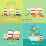 Jam and juice cards in flat style. Jars of jam and juice with fruits and berries cards. Flat vector illustrations stock illustration