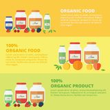 Jam and juice isolated banners in flat style. Jars of jam and juice horizontal banners set. Flat design vector illustration. Concept organic food royalty free illustration