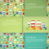 Jam and juice isolated banners in flat style. Set of horizontal banners with jars of fruit jam and juice . Flat design vector illustration royalty free illustration