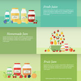 Jam and juice isolated banners in flat style. Set of horizontal banners with jars of fruit jam and juice and pan. Flat design vector illustration stock illustration