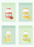 Jam and juice isolated cards in flat style. Jars of jam and juice cards. Flat design vector illustration royalty free illustration