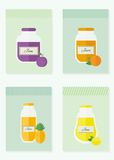 Jam and juice isolated cards in flat style. Jars of jam and juice cards. Flat design vector illustration stock illustration