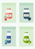 Jam and juice isolated cards in flat style. Jars of jam and juice cards. Flat design vector illustration vector illustration