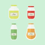 Jam and juice isolated vector flat elements. Jars of jam and juice isolated on blue background. Flat design vector elements royalty free illustration