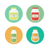 Jam and juice isolated vector flat icons. Jars of jam and juice isolated circled icons. Flat design vector elements royalty free illustration