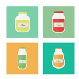 Jam and juice isolated vector flat icons. Jars of jam and juice isolated icons. Flat design vector elements stock illustration