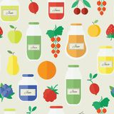 Jam and juice seamless pattern in flat style. Jars of jam and juice, berries and fruits. Cartoon seamless pattern. Vector illustration in flat design royalty free illustration