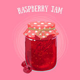 Jam in a jur. Delicious vegan jam in a jar, made of ripe juicy berries covered with textile cap Stock Image