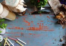Jam, kaarsen, bloemen en koekjes op een blauwe houten lijst Royalty-vrije Stock Afbeelding