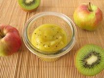 Jam with kiwifruit and apple Royalty Free Stock Photo