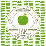 Jam label design template. for apple dessert product with hand drawn sketched fruit and background. Doodle vector apple illustrati Royalty Free Stock Photos