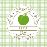 Jam label design template. for apple dessert product with hand drawn sketched fruit and background. Doodle vector apple illustrati Stock Photo