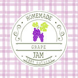 Jam label design template. for grape dessert product with hand drawn sketched fruit and background. Doodle vector Grape illustrati Royalty Free Stock Photos