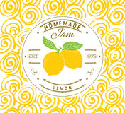 Jam label design template. for lemon dessert product with hand drawn sketched fruit and background. Doodle vector lemon illustrati Royalty Free Stock Image