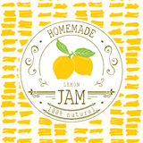 Jam label design template. for lemon dessert product with hand drawn sketched fruit and background. Doodle vector lemon illustrati Stock Image