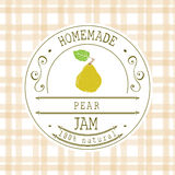 Jam label design template. for pear dessert product with hand drawn sketched fruit and background. Doodle vector pear illustration Stock Photography