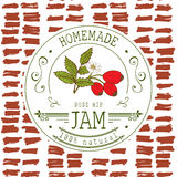 Jam label design template. for Rose hip dessert product with hand drawn sketched fruit and background. Royalty Free Stock Photos