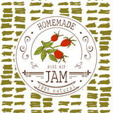 Jam label design template. for Rose hip dessert product with hand drawn sketched fruit and background. Doodle vector Rose hip illu Stock Photo