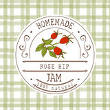 Jam label design template. for Rose hip dessert product with hand drawn sketched fruit and background. Doodle vector Rose hip illu Royalty Free Stock Photography