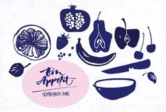 Jam labels template. Fruit silhouettes. Bon appetite lettering Royalty Free Stock Photography