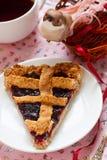 Jam lattice tart. With berries Stock Photo