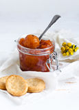 Jam made from apples. And biscuits Stock Images