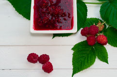 Jam made from fresh raspberries Royalty Free Stock Photos