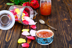 Jam Made of Rose Petals on the Old Wooden Boards Royalty Free Stock Photography