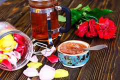 Jam Made of Rose Petals on the Old Wooden Boards Stock Photos