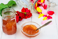 Jam Made of Rose Petals on the Old Wooden Boards Stock Image