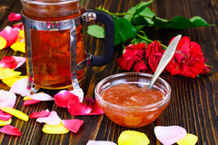 Jam Made of Rose Petals on the Old Wooden Boards Stock Images