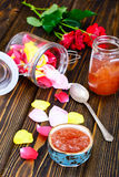 Jam Made of Rose Petals on the Old Wooden Boards Royalty Free Stock Photos